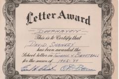 David Shanesy Letter Award 1949