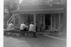 Bill Robinson & friends at the Depot when it was made into a home & moved to Cottagewood, 1960-1